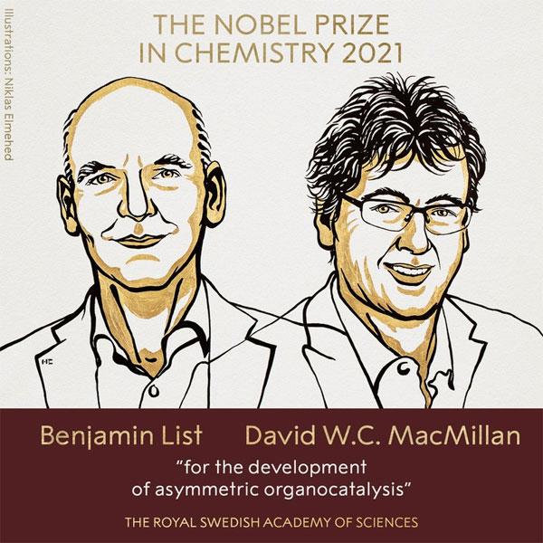 Nobel Hóa học 2021 vinh danh công trình nghiên cứu xúc tác hữu cơ bất đối xứng