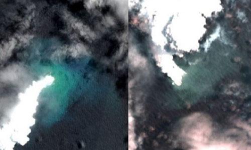 Núi lửa phun trào tạo ra hòn đảo mới