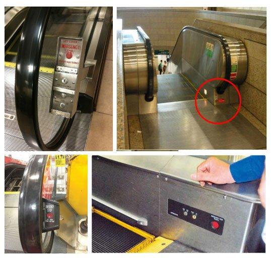 Nút dừng khẩn cấp của thang cuốn nằm ở đâu?