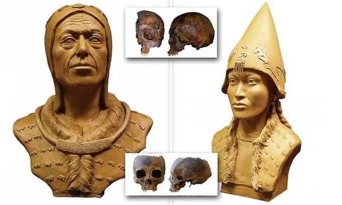 Phục dựng mặt nhà vua và ái thiếp trong mộ cổ đầy vàng