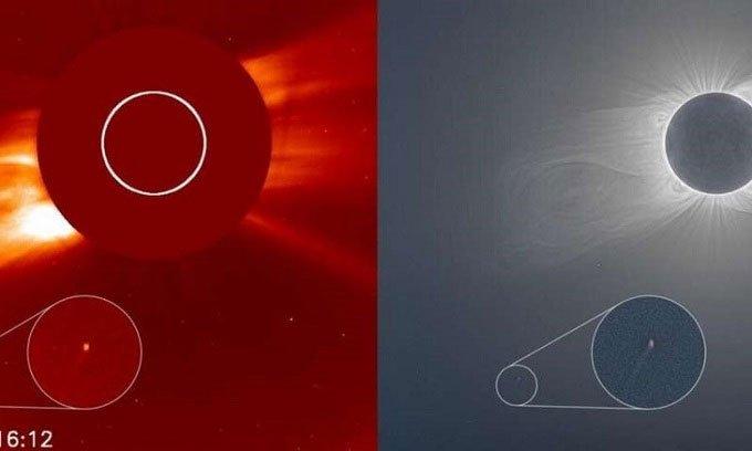 Sao chổi mới phát hiện lộ diện trong nhật thực toàn phần