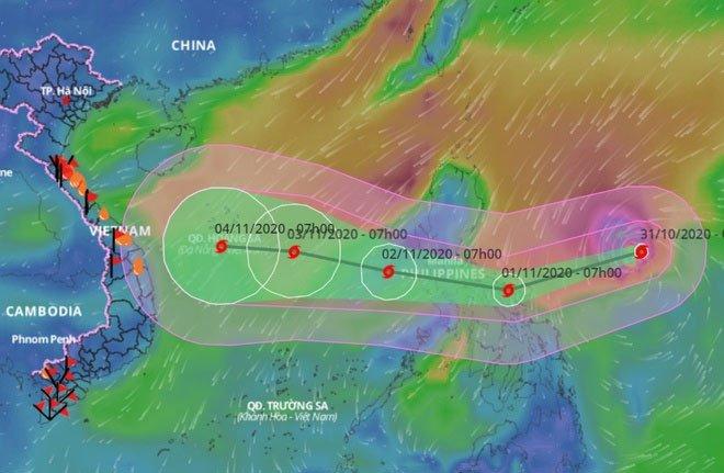 Siêu bão Goni giảm cấp khi vào biển Đông, Đà Nẵng - Quảng Ngãi mưa lớn