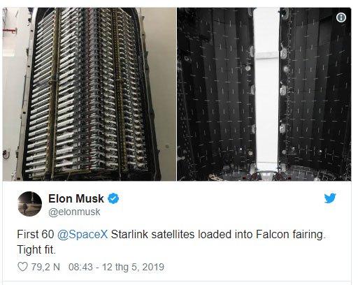 SpaceX sắp phóng 60 vệ tinh internet tốc độ cao lên quỹ đạo