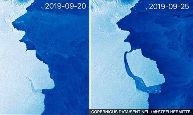 Tảng băng lớn bằng London ở chiếc răng lung lay tách khỏi Nam Cực
