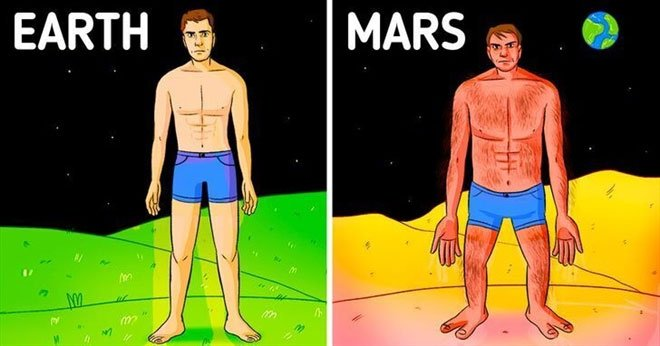 Thân hình bạn trông sẽ thế nào nếu sống ở hành tinh khác?