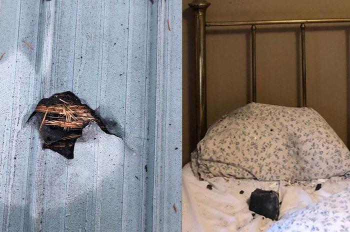 Thiên thạch xuyên qua mái nhà, hạ cánh trên gối ngủ và cái kết may mắn cho chủ nhà