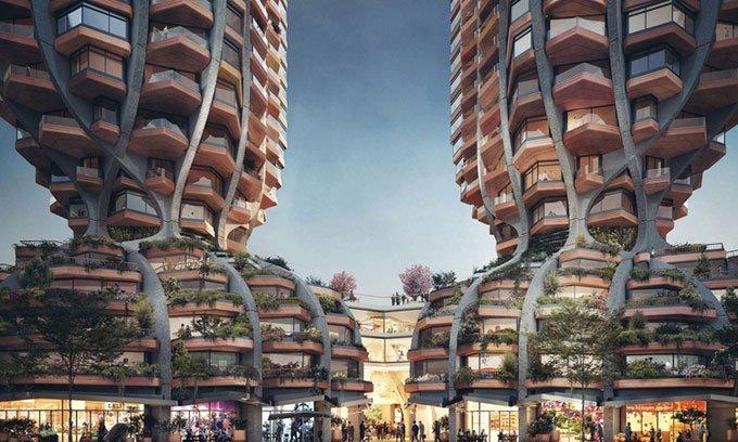 Thiết kế độc đáo: Hai tòa nhà thắt nútcao hơn 100m