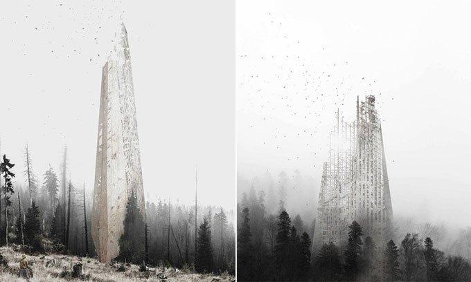 Tòa nhà chọc trời tự phân hủy giúp phục hồi rừng