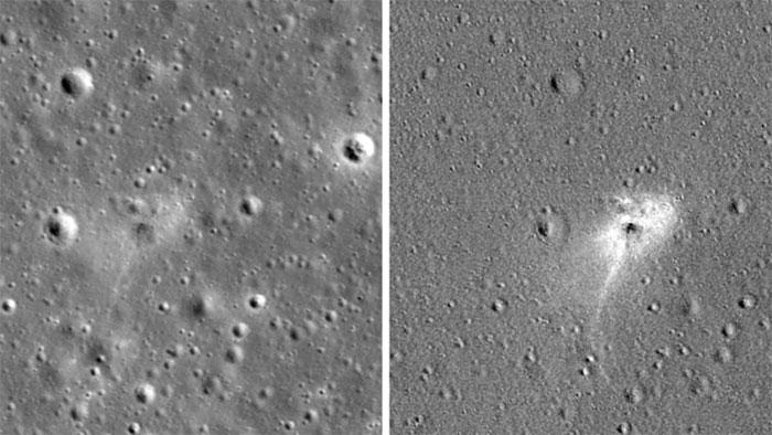 Vết tích cú hạ cánh thảm hại của tàu vũ trụ Israel trên Mặt trăng