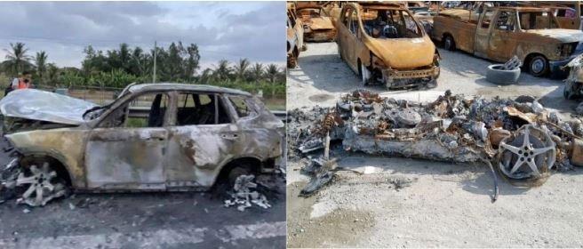 Vì sao xe hơi cháy mà có thể vụn tan cả vành?