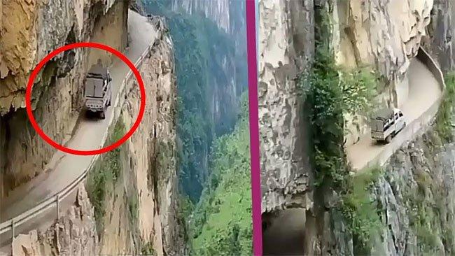 Video: Rùng mình với con đường nhỏ xíu bên vách núi cao ở Trung Quốc