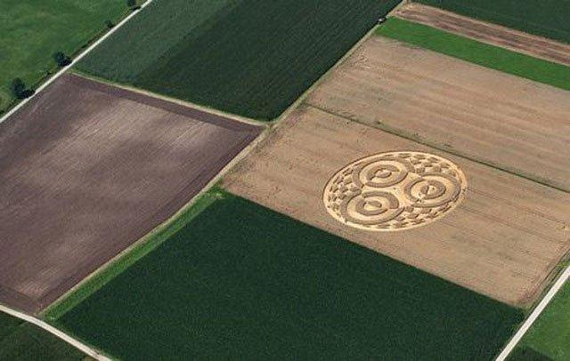 Vòng tròn khổng lồ xuất hiện bí ẩn trên cánh đồng ngũ cốc