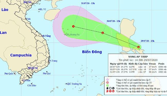 Xuất hiện vùng áp thấp gần biển Đông