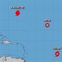 5 cơn bão và áp thấp cùng xuất hiện trên Đại Tây Dương
