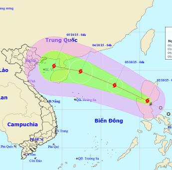 Bão Mujigae tiến gần biển Đông