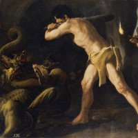 Bia đá khắc họa trận huyết chiến giữa con trai Hercules và quái xà