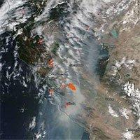 Cháy rừng ở California nhìn từ vũ trụ