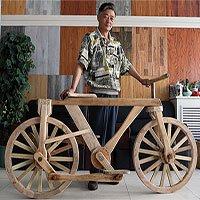 Chiếc xe đạp hoàn toàn bằng gỗ có thể hoạt động bình thường