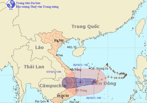 Chiều nay bão vào vùng biển các tỉnh Bình Định - Phú Yên