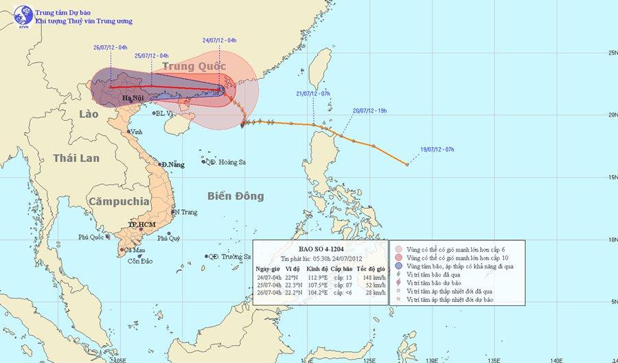 Chiều và tối nay, bão số 4 sẽ đổ bộ vào đất liền