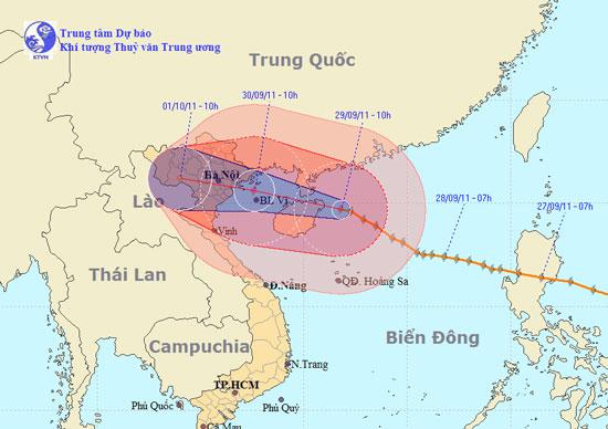 Đêm nay bão Nesat ảnh hưởng đến miền Bắc