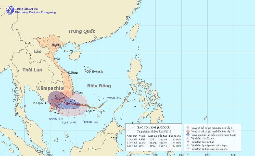 Tâm bão số 1 ở cách đảo Phú Quý khoảng 130km
