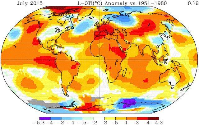 Tháng 7/2015 là tháng nóng nhất trong vòng 200 năm qua