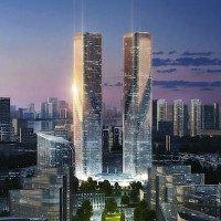 Tòa tháp đôi thay đổi màu sắc tại Trung Quốc