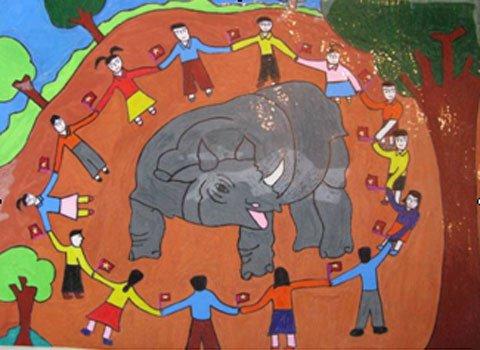 Trao giải vẽ tranh bảo vệ tê giác một sừng