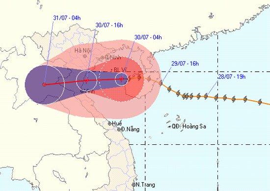 Vị trí và hướng đi của cơn bão số 3