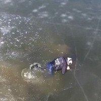 Video: Tự cứu mình giữa hồ băng bằng một cặp tua vít