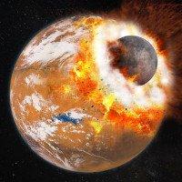Vụ va chạm khổng lồ sinh ra hai mặt trăng sao Hỏa