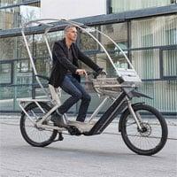 Xe đạp điện kiểu mới tích hợp mái che mưa